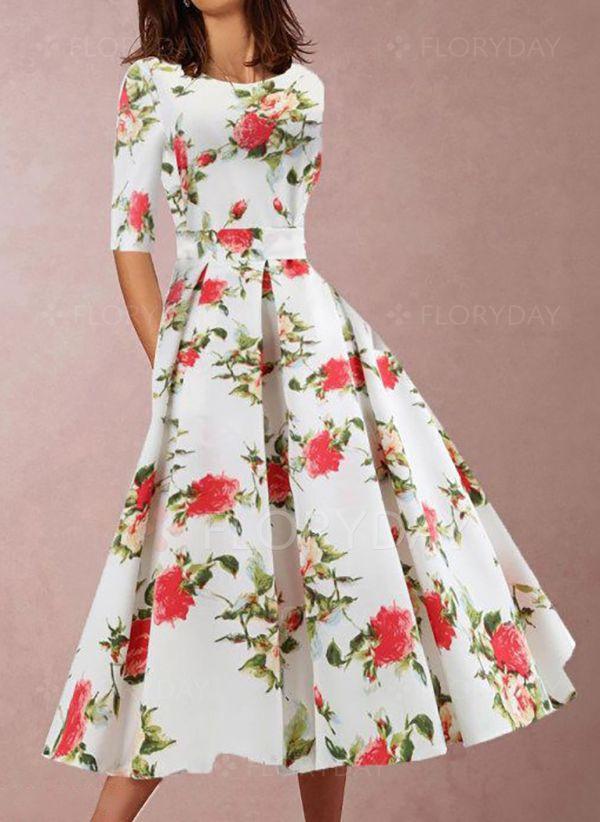 Lässige Kleidung Halbarm Blumen Midi Kleider  Floryday