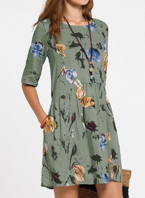 Lässige Kleidung Halbarm Blumen Über Dem Knie Kleider