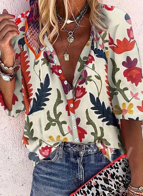 Lässige Kleidung Halbarm Blumen Vausschnitt Blusen  Beautlly
