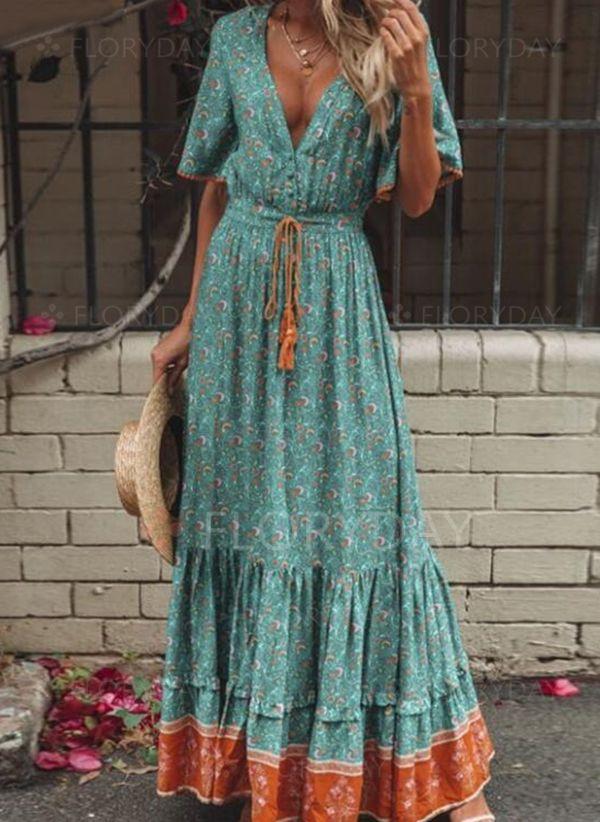 Lässige Kleidung Halbarm Farbquadrat Maxi Kleider  Floryday