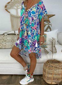 Lässige Kleidung Kurze Ärmel Blumen Asymmetrische Kleider