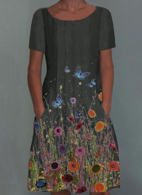 Lässige Kleidung Kurze Ärmel Blumen Knielang Kleider