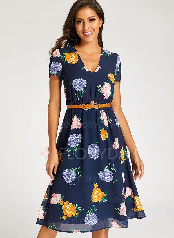 Lässige Kleidung Kurze Ärmel Blumen Midi Kleider  Floryday