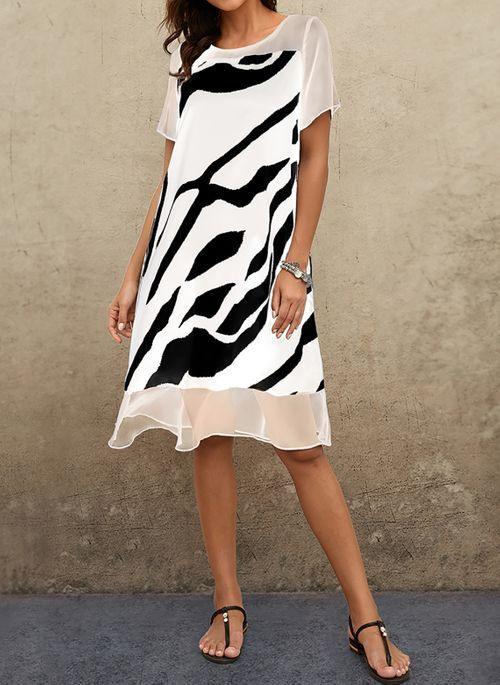 Lässige Kleidung Kurze Ärmel Farbquadrat Midi Kleider