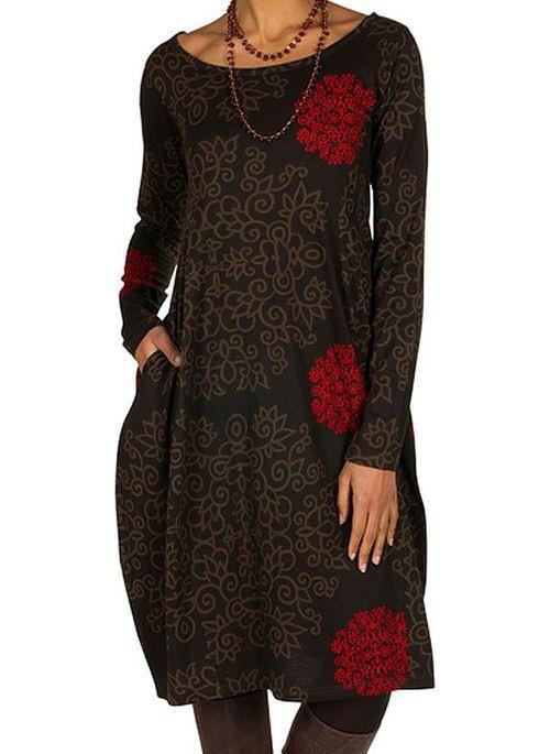 Lässige Kleidung Lange Ärmel Blumen Knielang Kleider