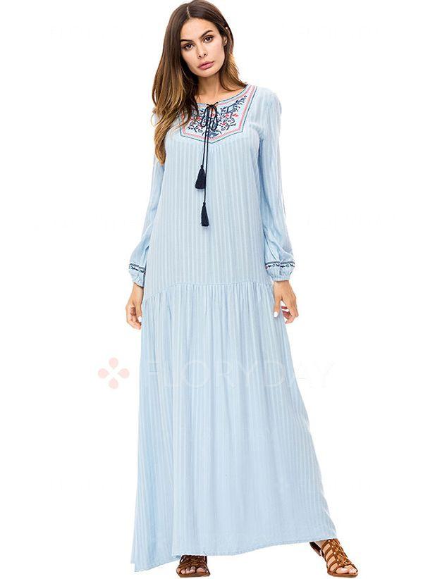 Lässige Kleidung Lange Ärmel Blumen Maxi Kleider  Floryday