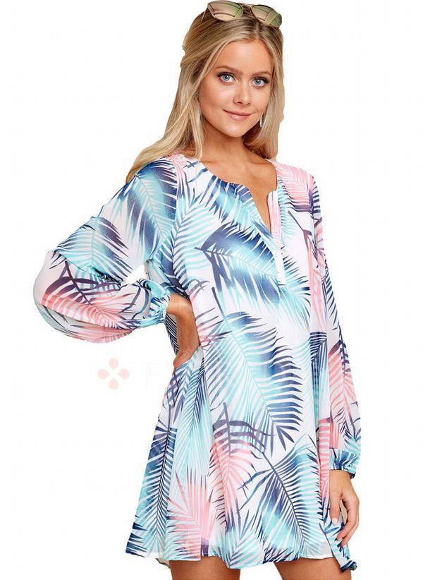 Lässige Kleidung Lange Ärmel Blumen Mini Kleider  Floryday