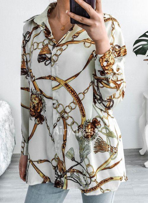 Lässige Kleidung Lange Ärmel Farbquadrat Kragen Blusen