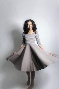 Lässige Mode Für Frauen Knielanges Kleid Aus Bio