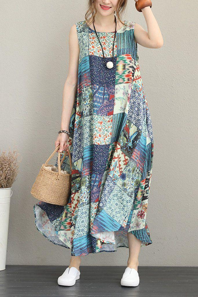 Lässige Print Blue Maxi Sommerkleid Frauen Leinen Kleidung
