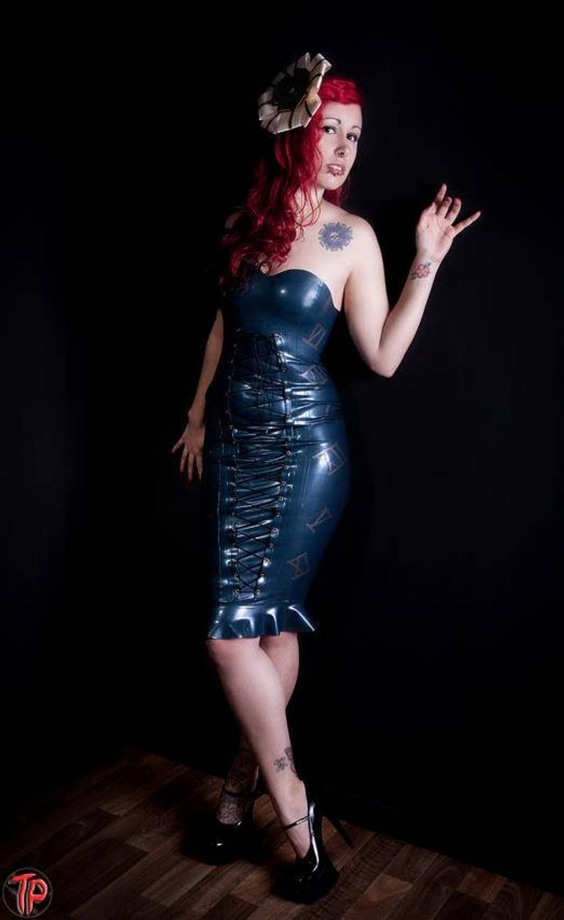 Latex Korsett Kleid Strapless Lace Up Kleid  Etsy