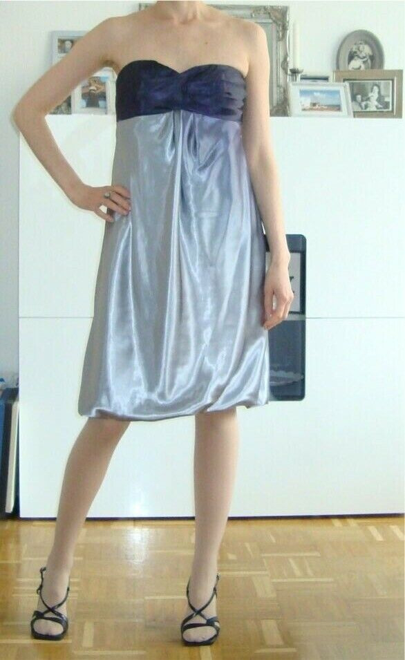 Laura Scott Coctailkleid 34 Bandeau Ballkleid Silber Blau