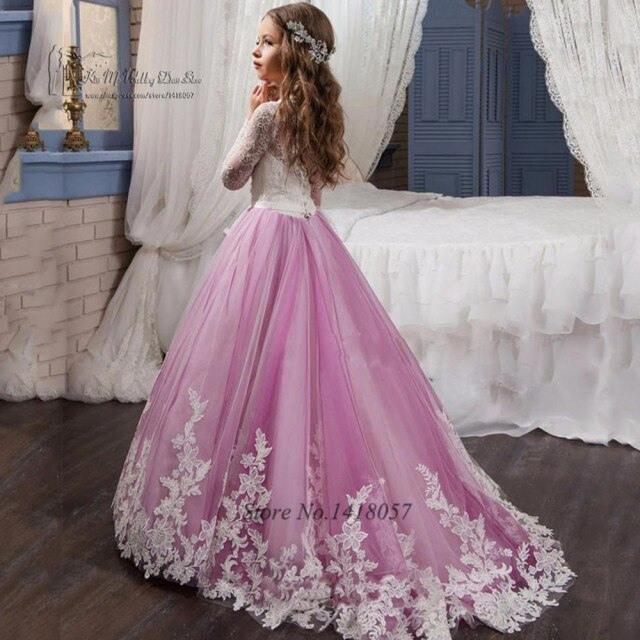 Lavendel Prom Kleider Mädchen Langarm Blume Mädchen Kleid