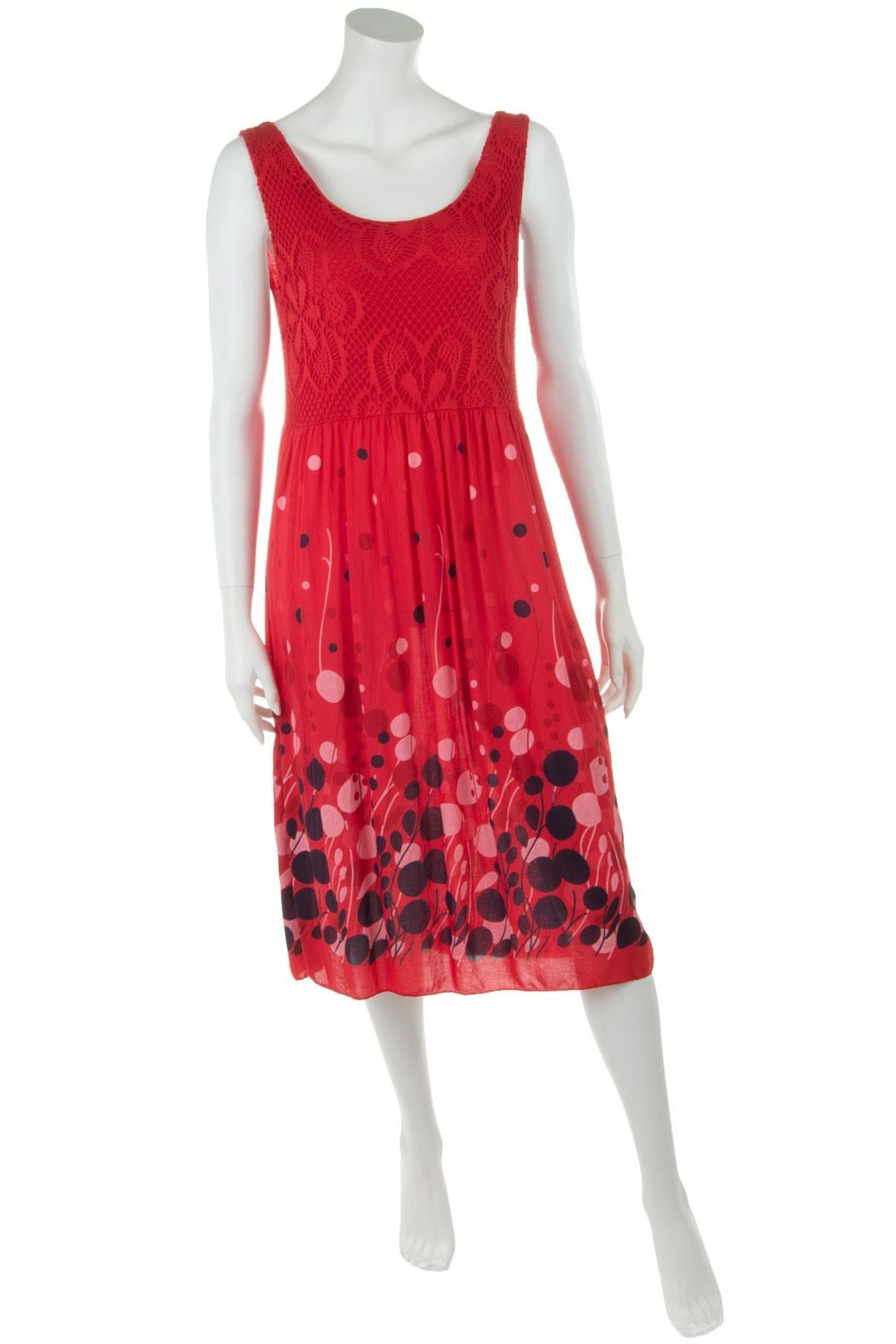 Leichtes Sommerkleid Für Damen Viskose Rot 36 38 40 2690