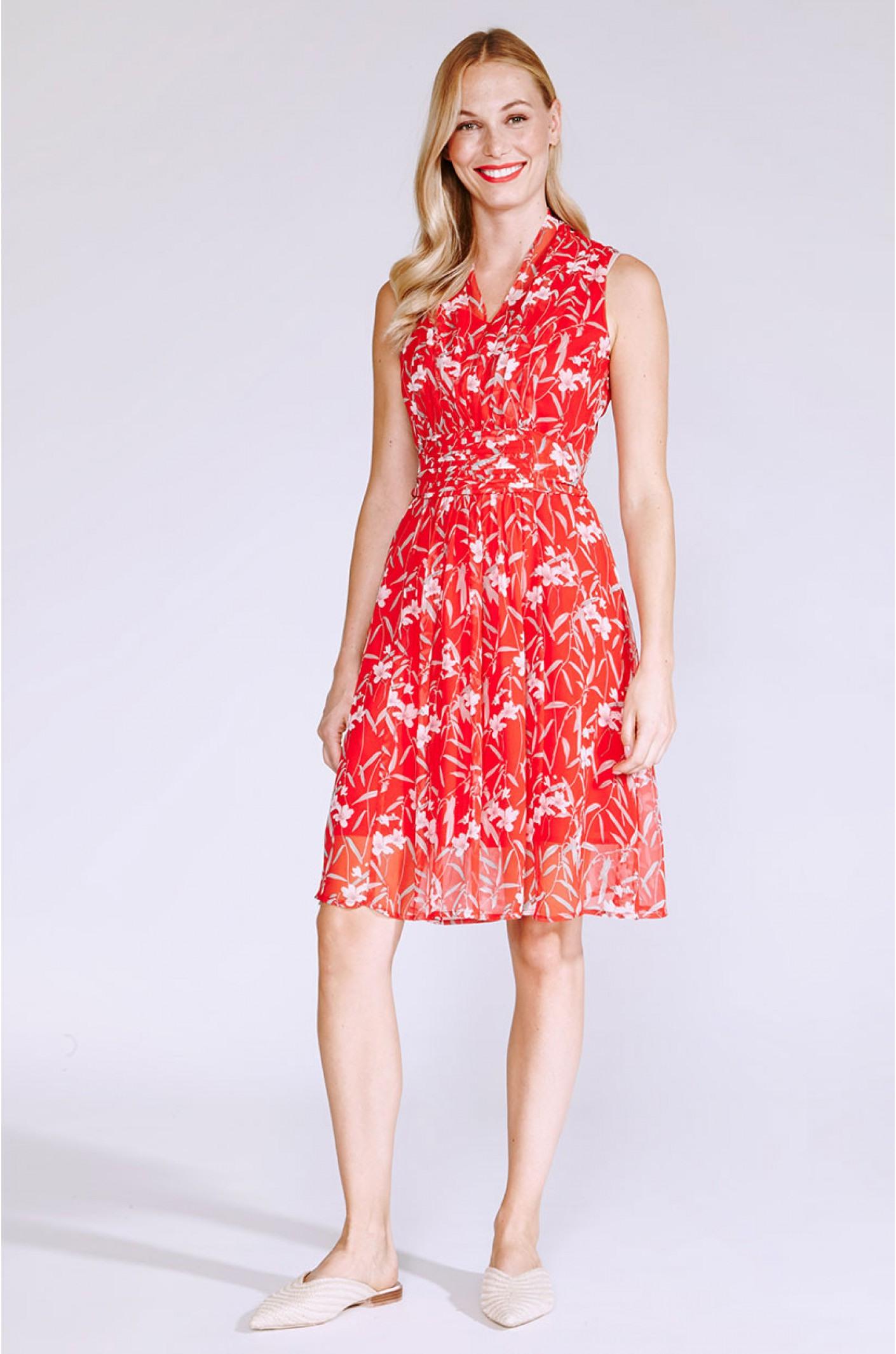 Leichtes Sommerkleid In Rot Mit Blumen  Kala Fashion