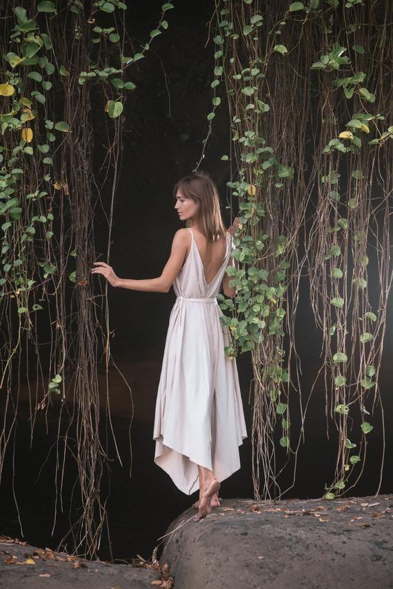 Leinen Jumpsuit Kleid • Leinen Hochzeit Strampler