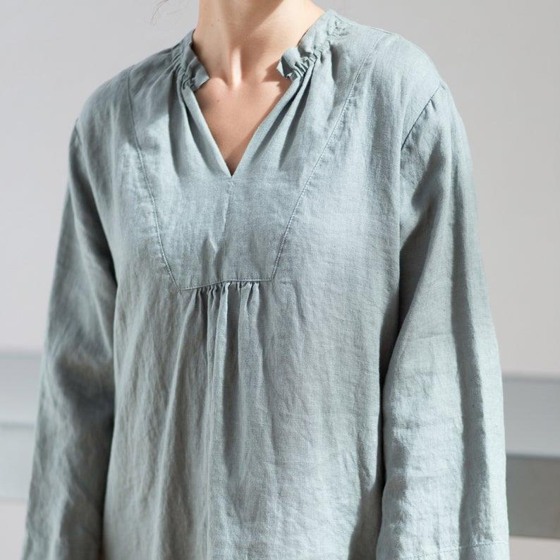 Leinen Kleid / Kimono Leinen Kleid / Leinen Tunika Kleid