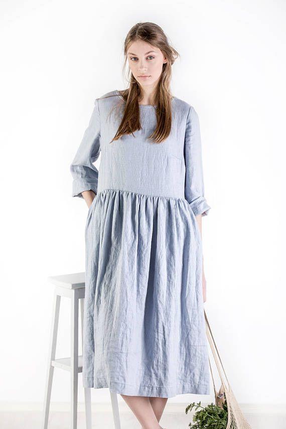 Leinen Kleid / Leinen Kleid Mit Taschen / Casual Leinen