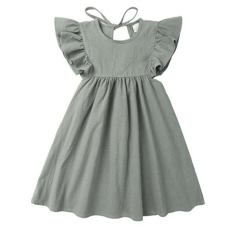 Leinen Kleid Mädchen Babyhochzeitoutfit Hochzeitskleid