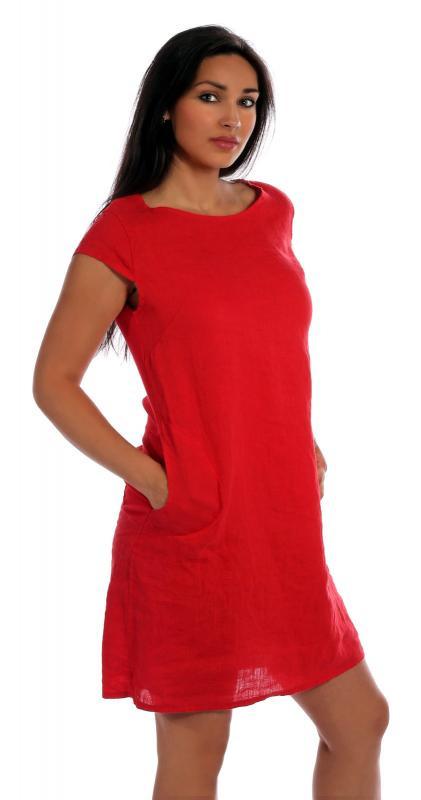 Leinen Kleid Sommerkleid Kurzarm Alinie Mit Taschen