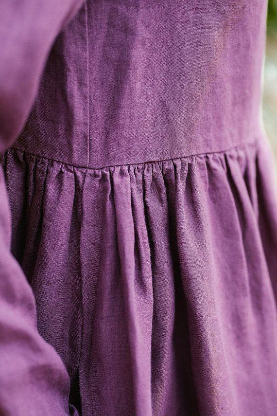 Leinen Kleid Violett Kleid Leinen Kleidung Kittel Kleid
