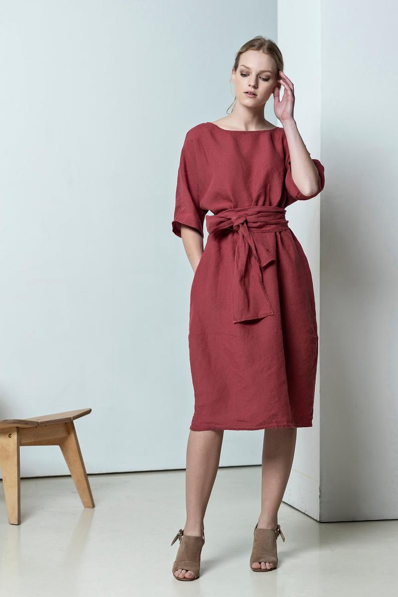Leinen Midi Kleid Für Frauen Rotes Sommerkleid Loses  Etsy