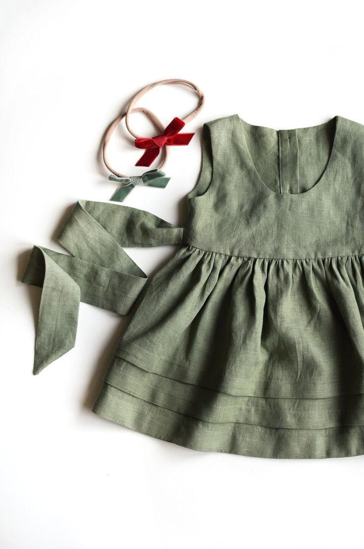 Leinen Pinafore Kleid Mädchen Schürze Kleid Salbeigrün