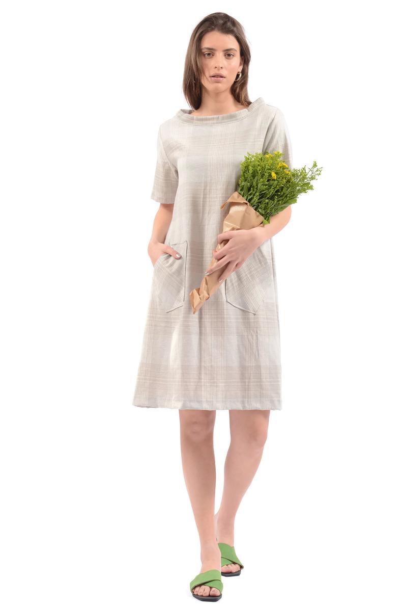 Leinen Sommerkleid Womens Lange Tunika Kleid Beige Midi  Etsy