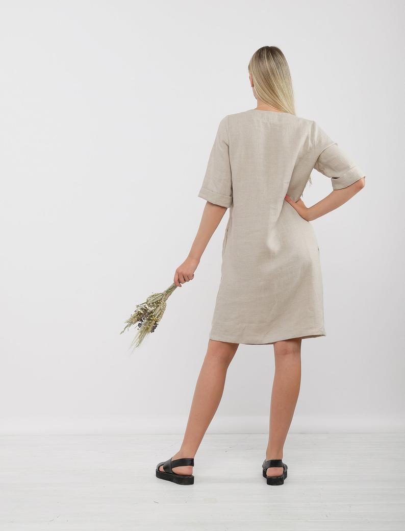 Leinen Tunika Kleid Lucy Leinen Kleid Mit Tasche Midi