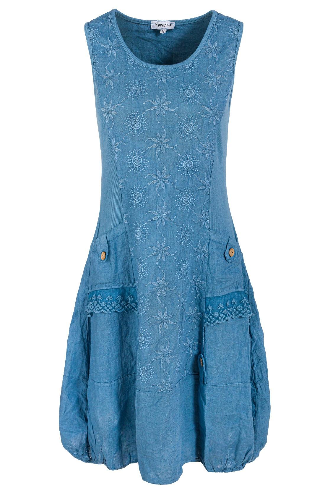 Leinenkleid Damen Mit Stickerei Sommer Knielang Jeansblau 44