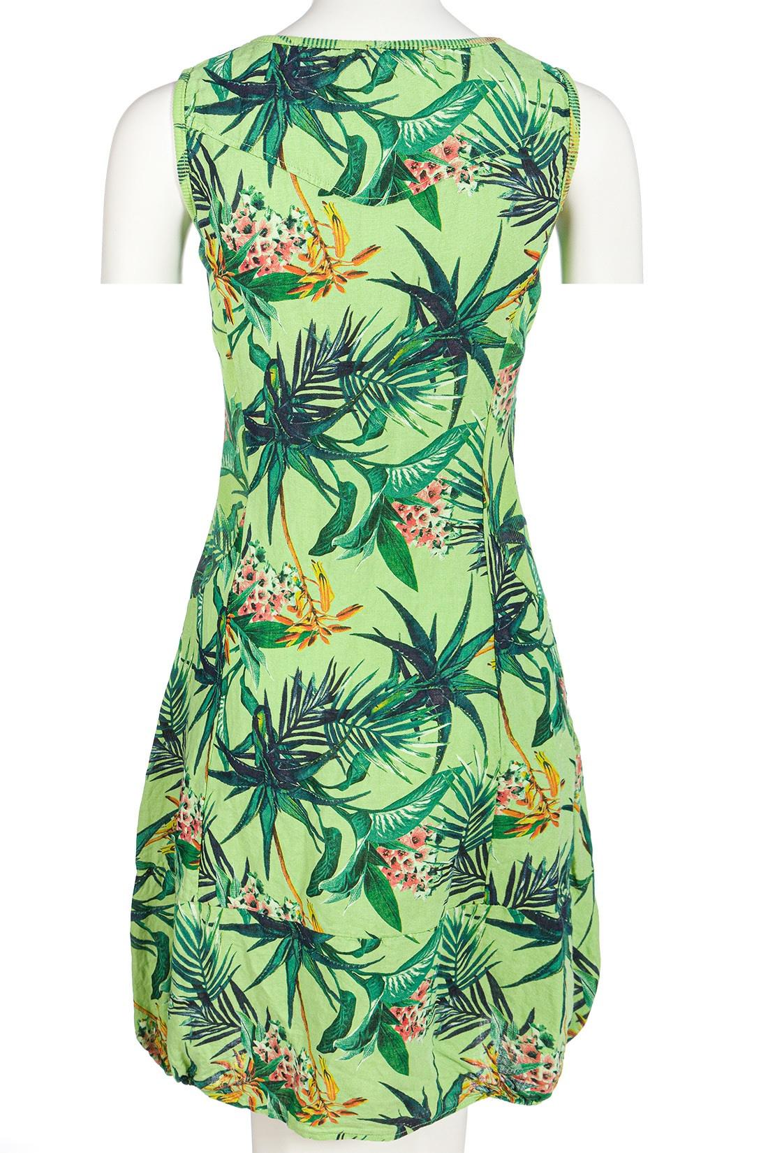 Leinenkleid Damen Tropicaldesign Sommer Knielang Lindgrün 40