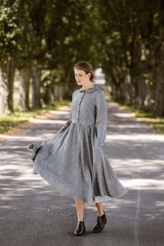 Leinenkleid Graues Kleid Shirtkleid Plus Size Kleidung