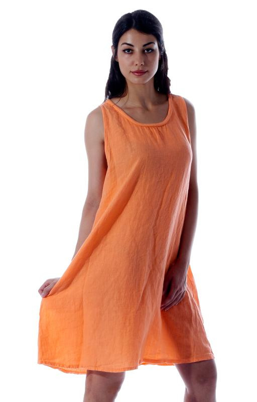Leinenkleid In Klasschischer Form Unifarben  Mode Aus