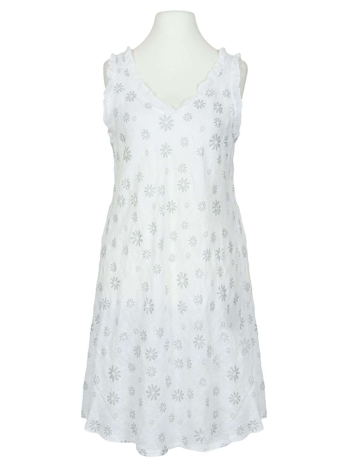 Leinenkleid Mit Blüten Weiss Bei Meinkleidchen Kaufen