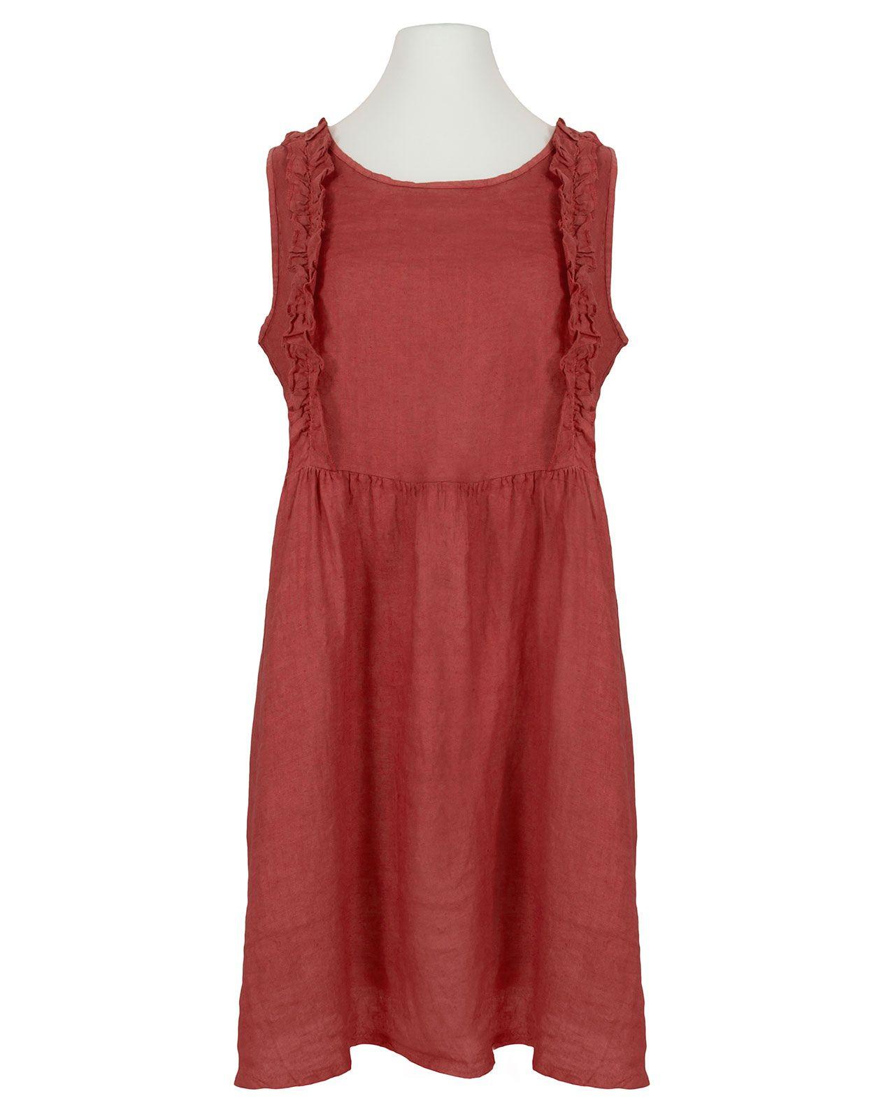 Leinenkleid Mit Rüschen Rot In 2020  Leinenkleid