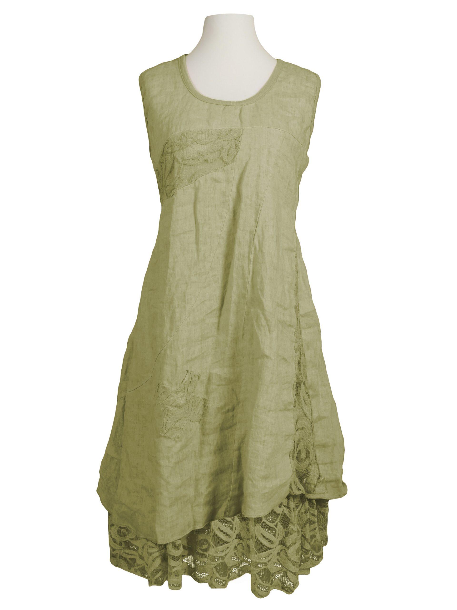 Leinenkleid Mit Spitze Grün Bei Meinkleidchen Kaufen