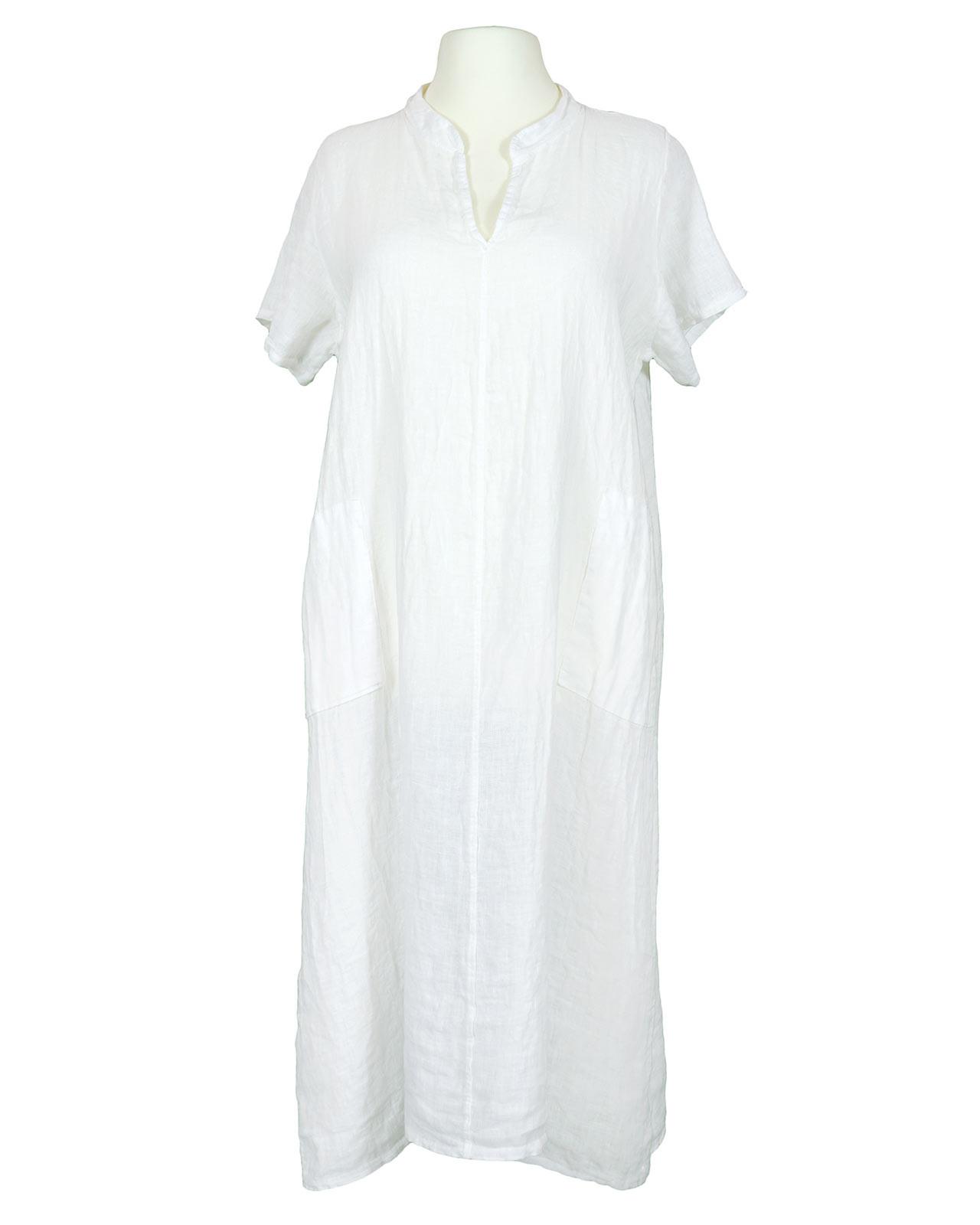 Leinenkleid Stehkragen Weiss Von Made In Italy
