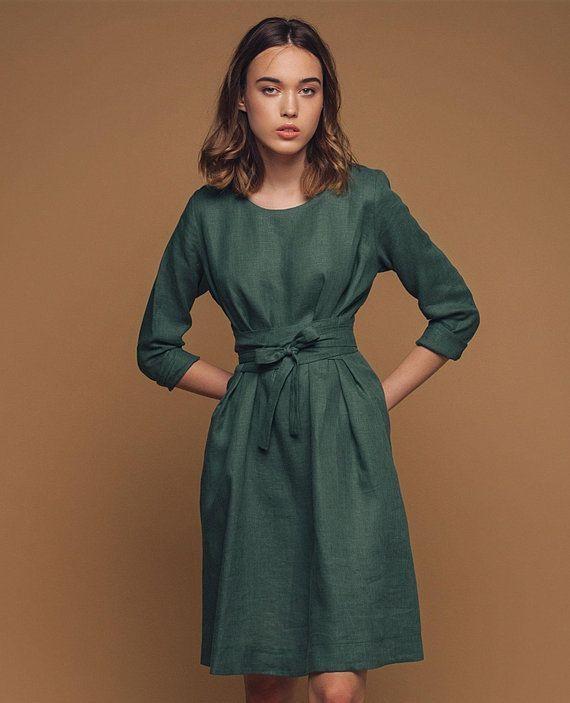 Leinenkleid Wickelkleid Aus Leinen Frau Leinen Kleid