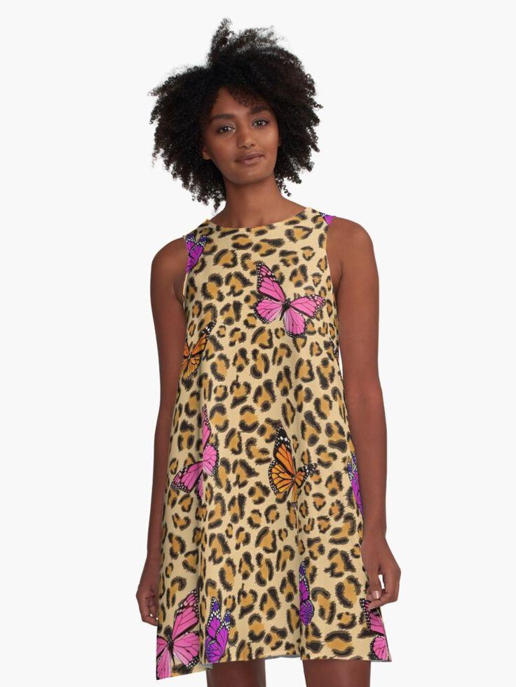 """Leopardenmuster Mit Schmetterlingen"""" Kleid Von Rs"""