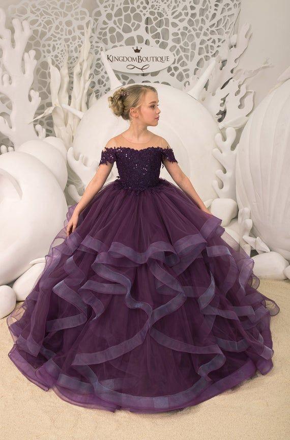 Lila Blumenmädchen Kleid  Geburtstag Hochzeit