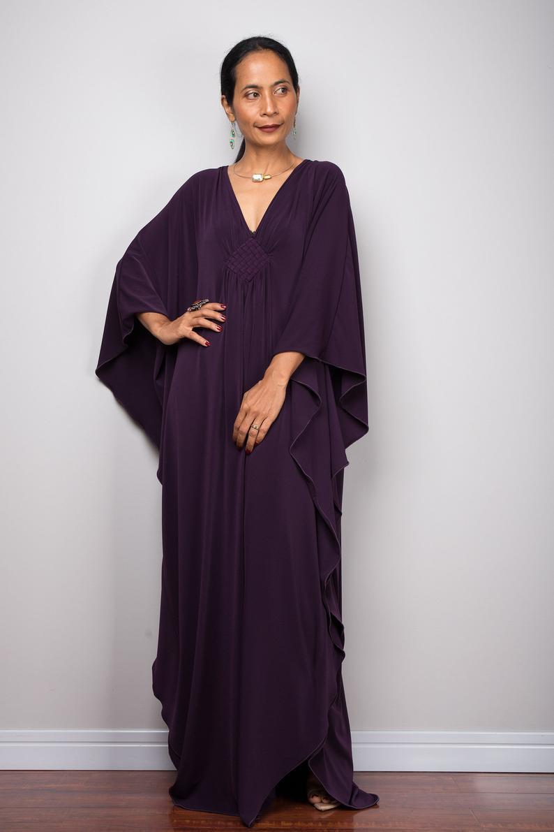 Lila Kaftan Maxi Kleid Lange Übergroße Kaftan Rock Kleid