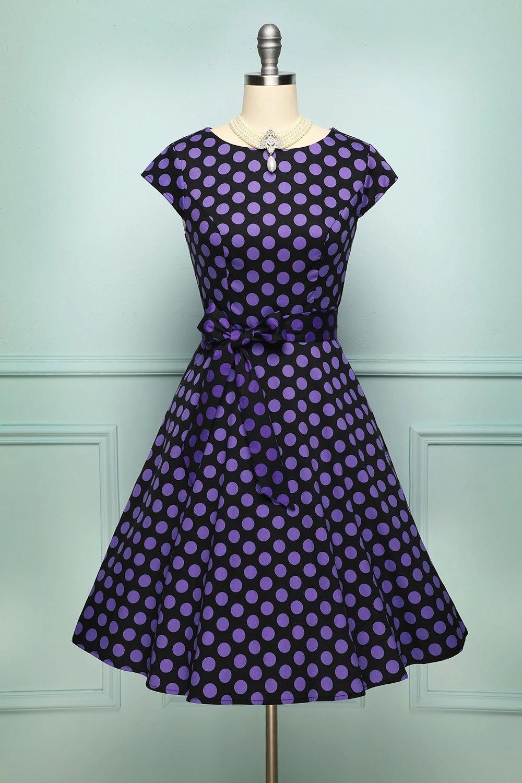 Lila Polka Dots Vintage Alinie Swing Kleid Mit Ärmeln