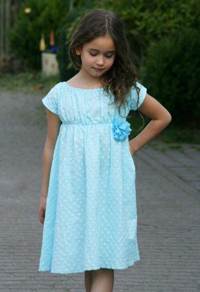 Lilakind  Mädchen Kleid Sommerkleid Carmenkleid Baumwolle