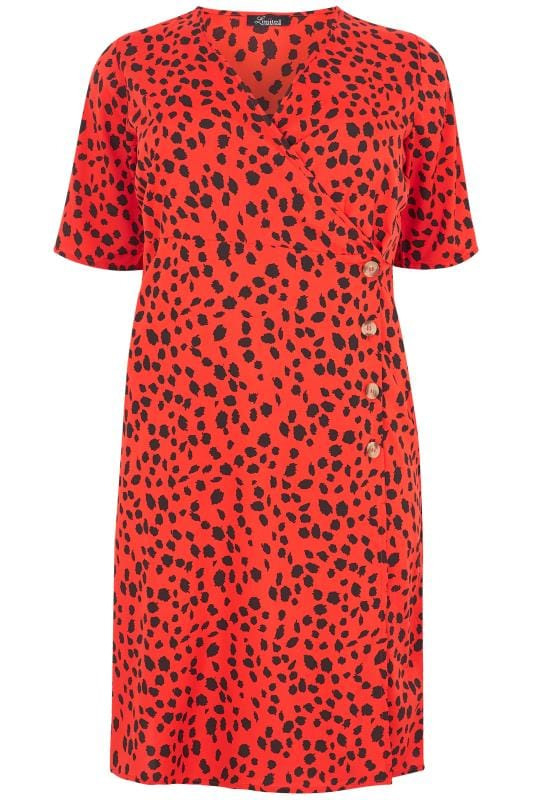 Limited Collection Animal Print Wickelkleid  Rot Große