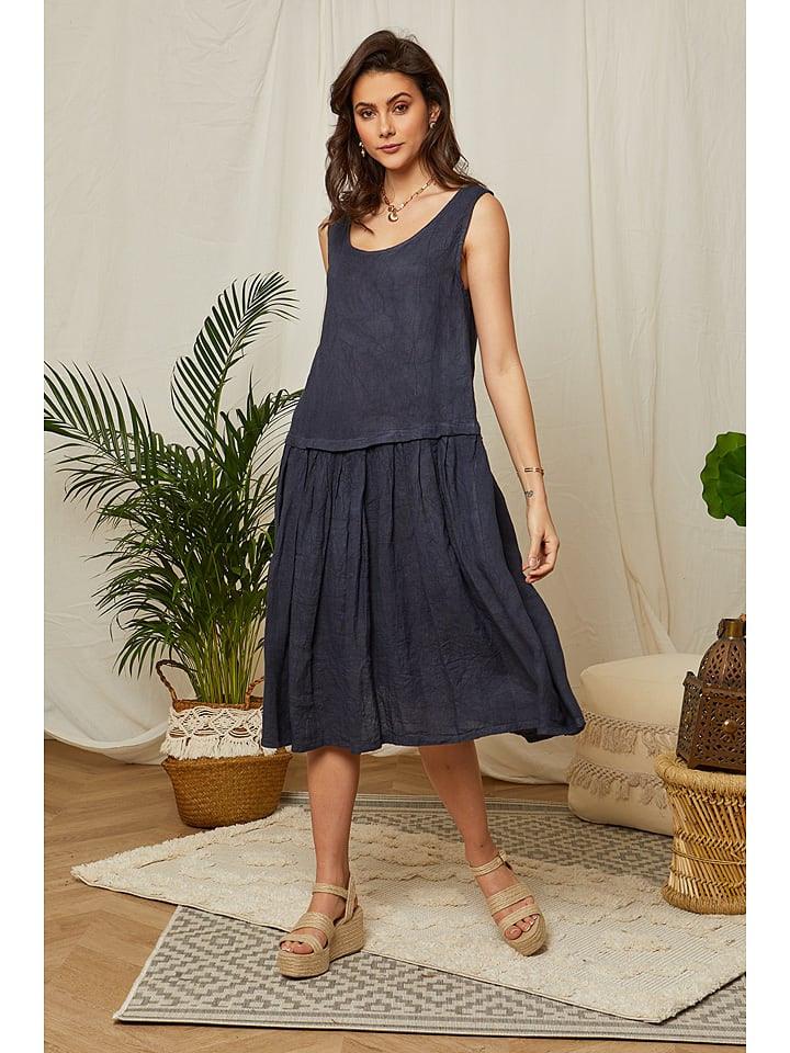 Lin Passion Leinenkleid In Dunkelblau Günstig Kaufen