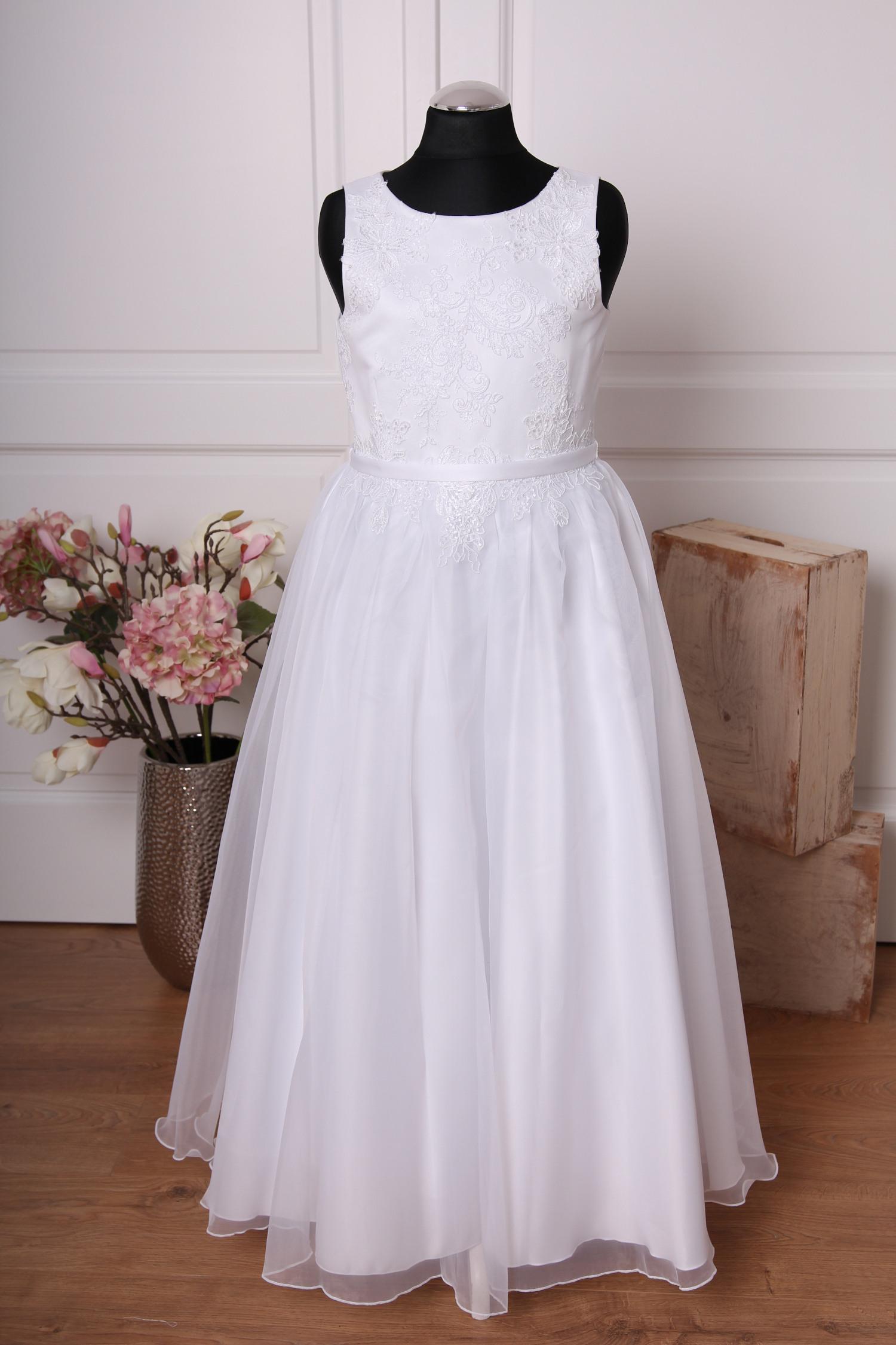Linda ♥ Kommunionkleid Mit Spitze Und Organza ♥ In Weiß