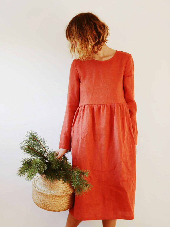 Linen Dress  Burnt Orange Linen Dress  Long Sleeved