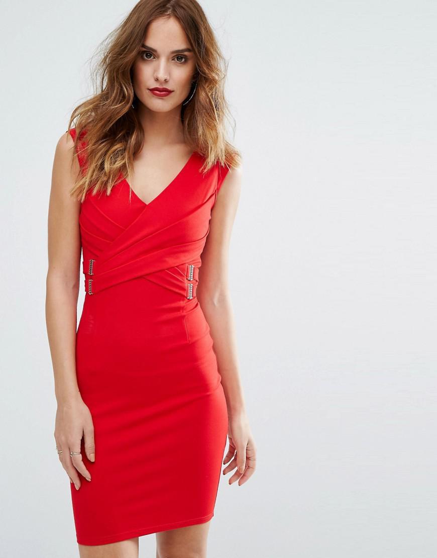 Lipsy Cap Sleeve V Neck Bodycon Dress In Red  Lyst