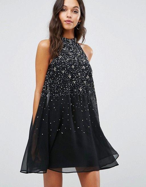 Lipsy  Hochgeschlossenes Ausgestelltes Kleid Mit