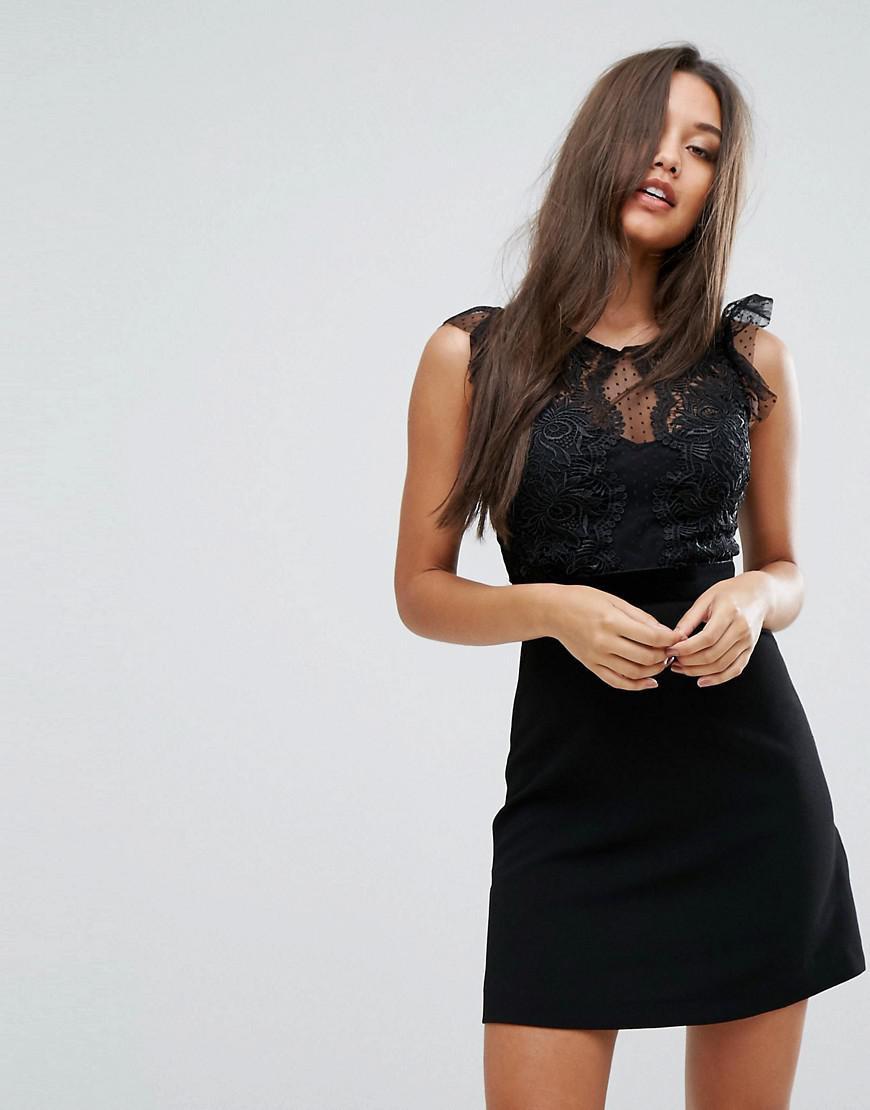 Lipsy Lace Trim Dobby Aline Dress In Black  Lyst